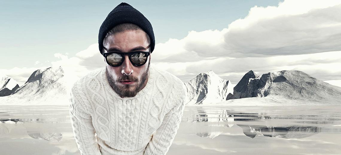 Winter man wearing sunglasses